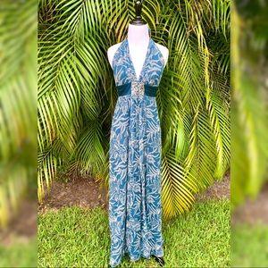 BCBGMaxazria Teal Tropical Silk Flowy Maxi Dress